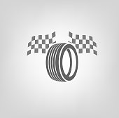 Car tire icon with finish flags in grey colours useful for icon and logotype design on a light background. Realistic graphic style. Transportation automotive concept. Digital pictogram collection. Beautiful vector illustration
