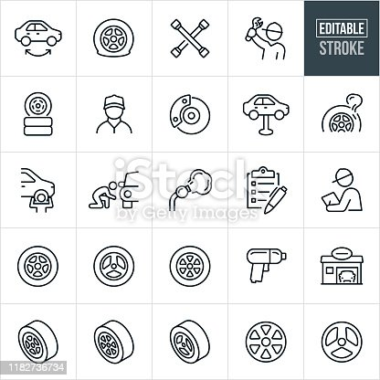 A set tire shop icons that include editable strokes or outlines using the EPS vector file. The icons include tires, rims, tire rotation, tire shop, flat tire, tire iron, mechanic, brakes, tire install, air compressor, checklist, impact wrench and other related icons.