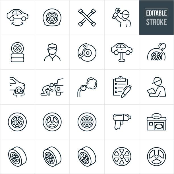 Tire Shop Thin Line Icons - Editable Stroke vector art illustration
