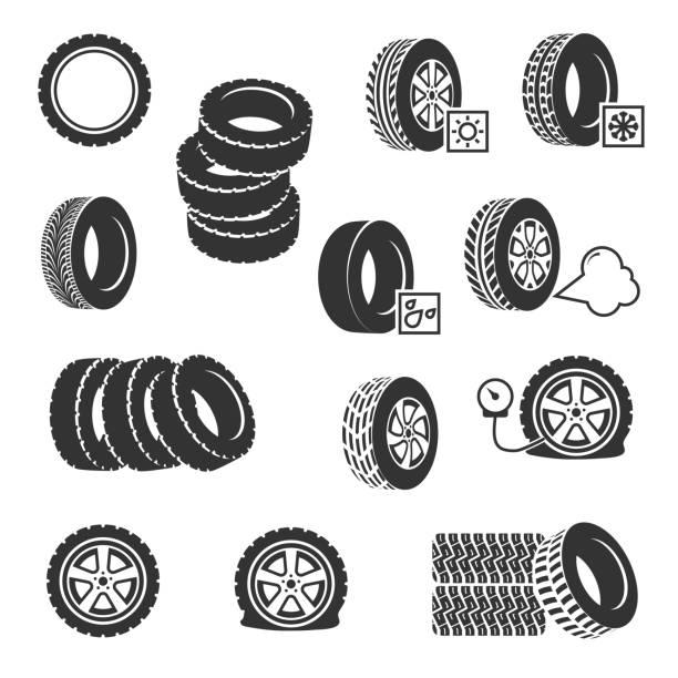 ilustraciones, imágenes clip art, dibujos animados e iconos de stock de tienda de neumáticos neumáticos auto servicio vector iconos conjunto de cambios - tires