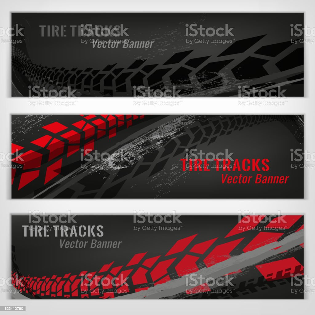 Tire track banners vector art illustration