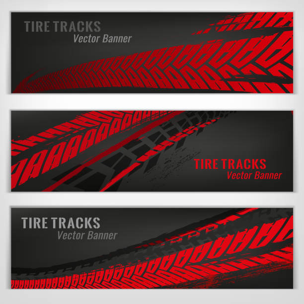 Tire track banners Vector automotive banners template. Grunge tire tracks backgrounds for landscape poster, digital banner, flyer, booklet, brochure and web design. Editable graphic image in grey and red colors tire vehicle part stock illustrations