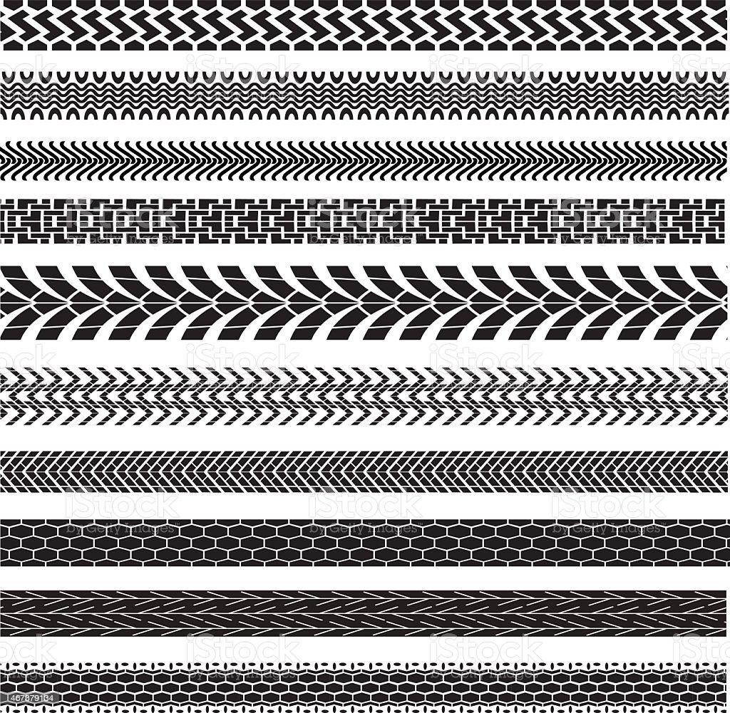 tire track brushes vector art illustration