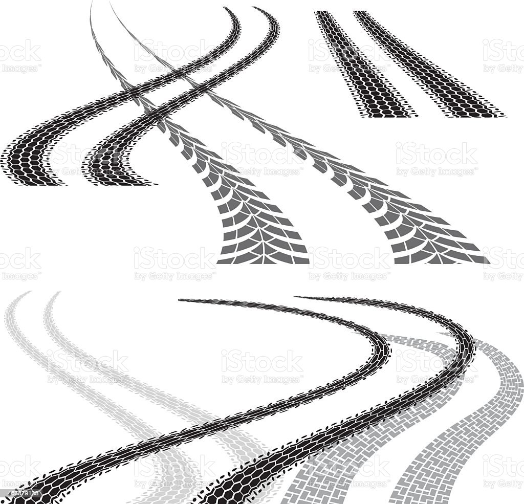 tire track curve vector art illustration