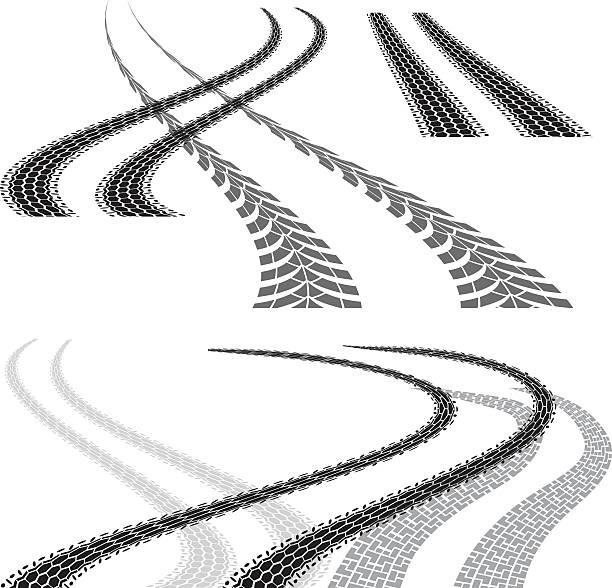 illustrazioni stock, clip art, cartoni animati e icone di tendenza di traccia di pneumatico curva - bike tire tracks