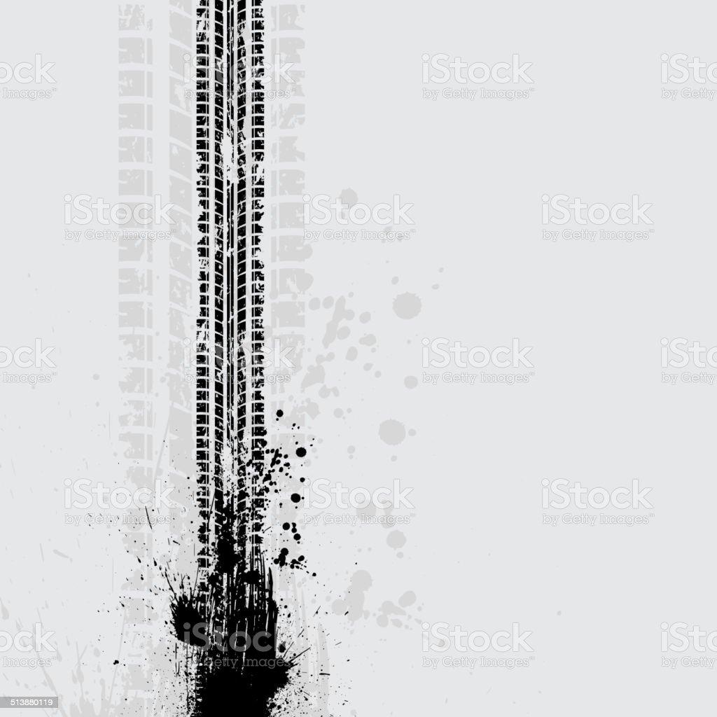 Tire track grunge shadow vector art illustration