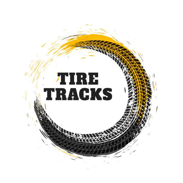 ilustraciones, imágenes clip art, dibujos animados e iconos de stock de neumáticos pista estilo círculo - tires