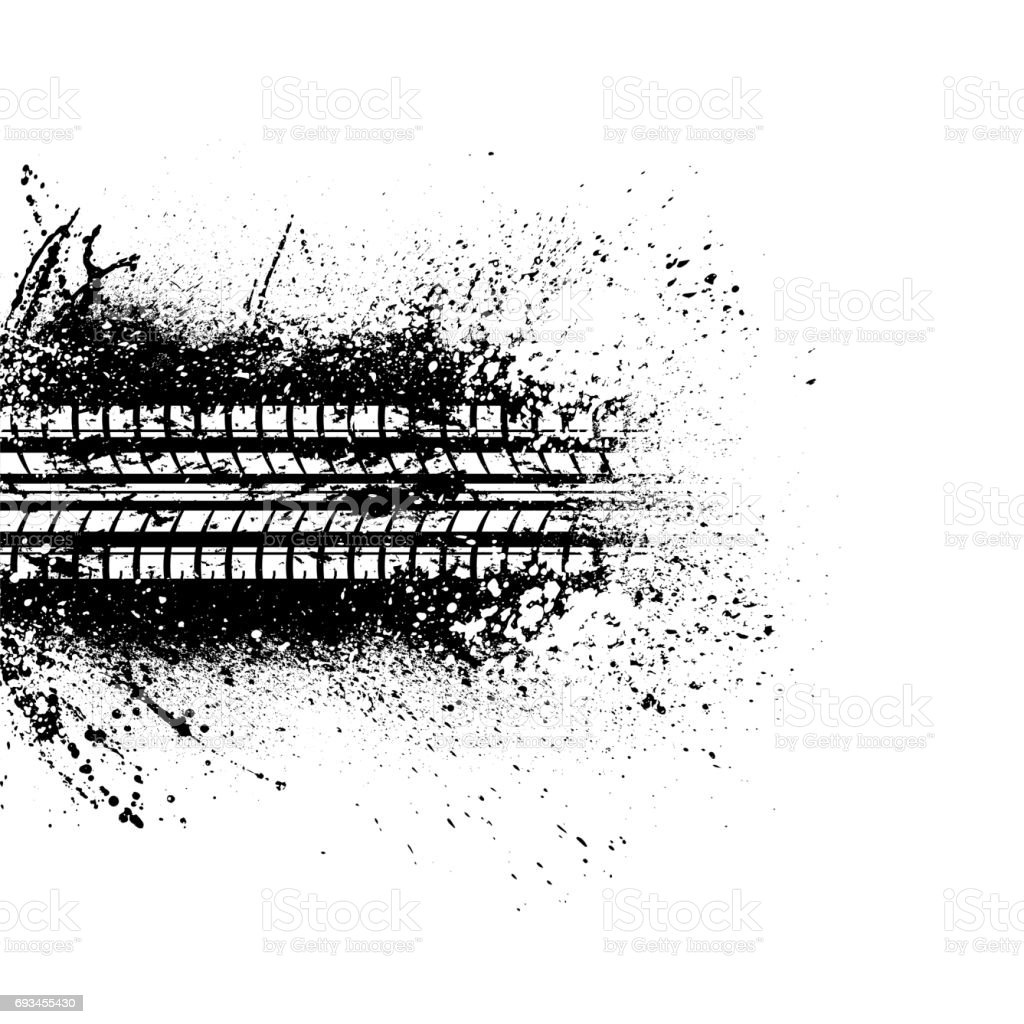 Tire track spalsh background vector art illustration