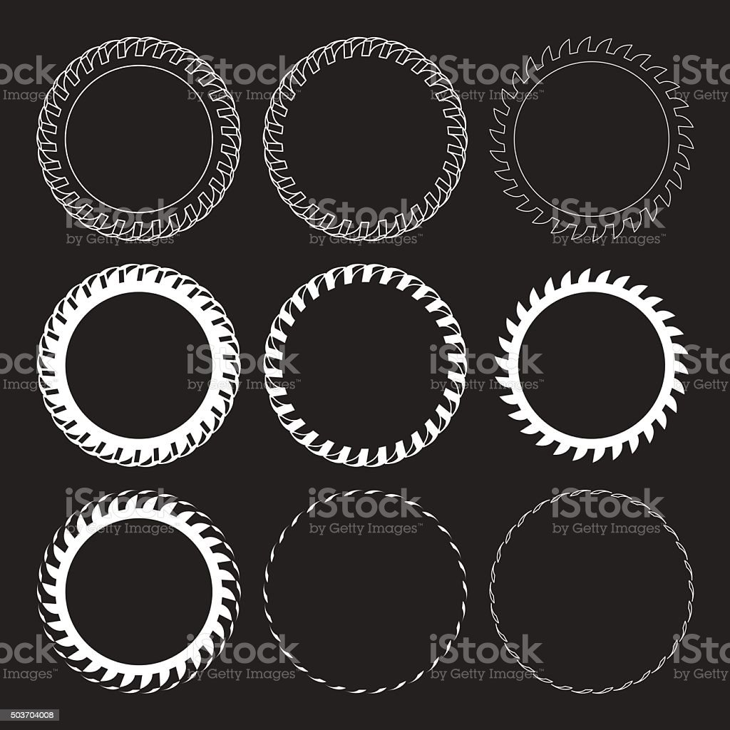 Tire Track Vector Round Border Frame Set vector art illustration