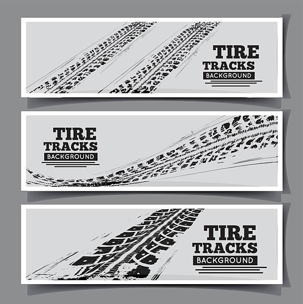 stockillustraties, clipart, cartoons en iconen met tire tracks background - bandenspoor
