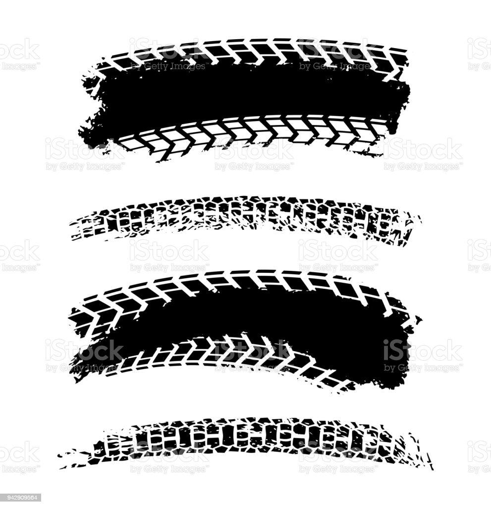 Tire Tracks Elements vector art illustration