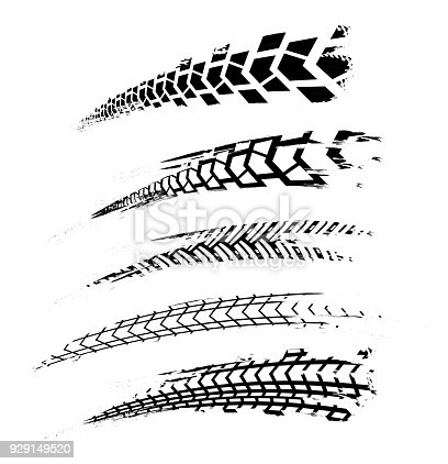 Tire Tracks Elements02 Stock Vector Art & More Images of