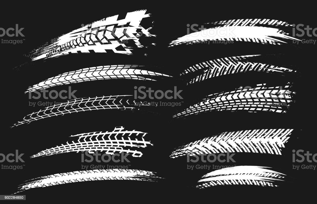 Tire Tracks Elements-03 vector art illustration