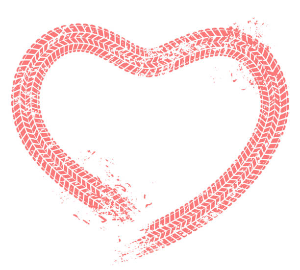 Tire tracks heart. Motorist love, hearts tire track and motor car enthusiast valentines card grunge vector illustration Tire tracks heart. Motorist love, hearts tire track and motor car enthusiast valentines card. Wheels tires treads love heart vehicle silhouette. Grunge vector isolated illustration car love stock illustrations