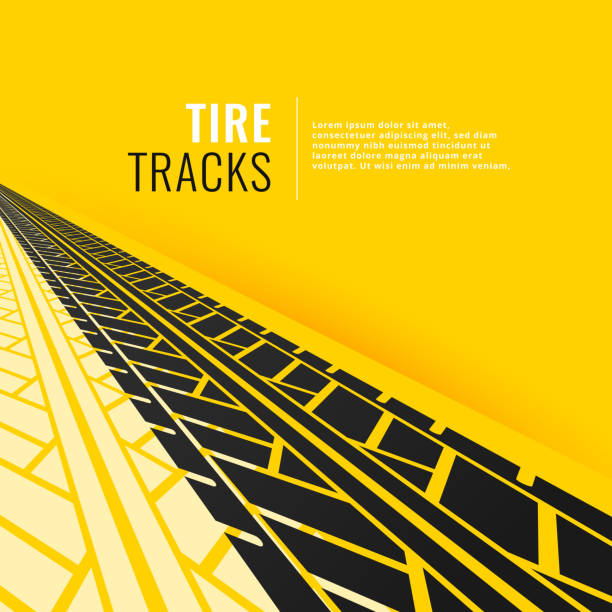 tire tracks in perspective om yellow background tire tracks in perspective om yellow background tire vehicle part stock illustrations