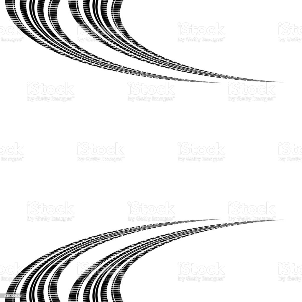 Tire tracks in perspective vector art illustration
