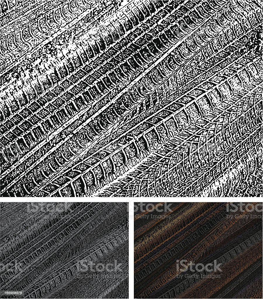 Tire Tracks in the Sand royalty-free stock vector art