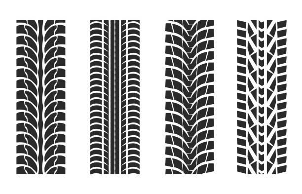 stockillustraties, clipart, cartoons en iconen met tire tracks patterns collectie - bandenspoor