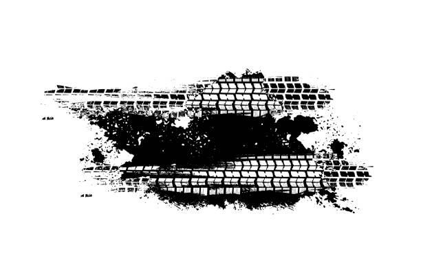 stockillustraties, clipart, cartoons en iconen met band tracks print textuur - bandenspoor