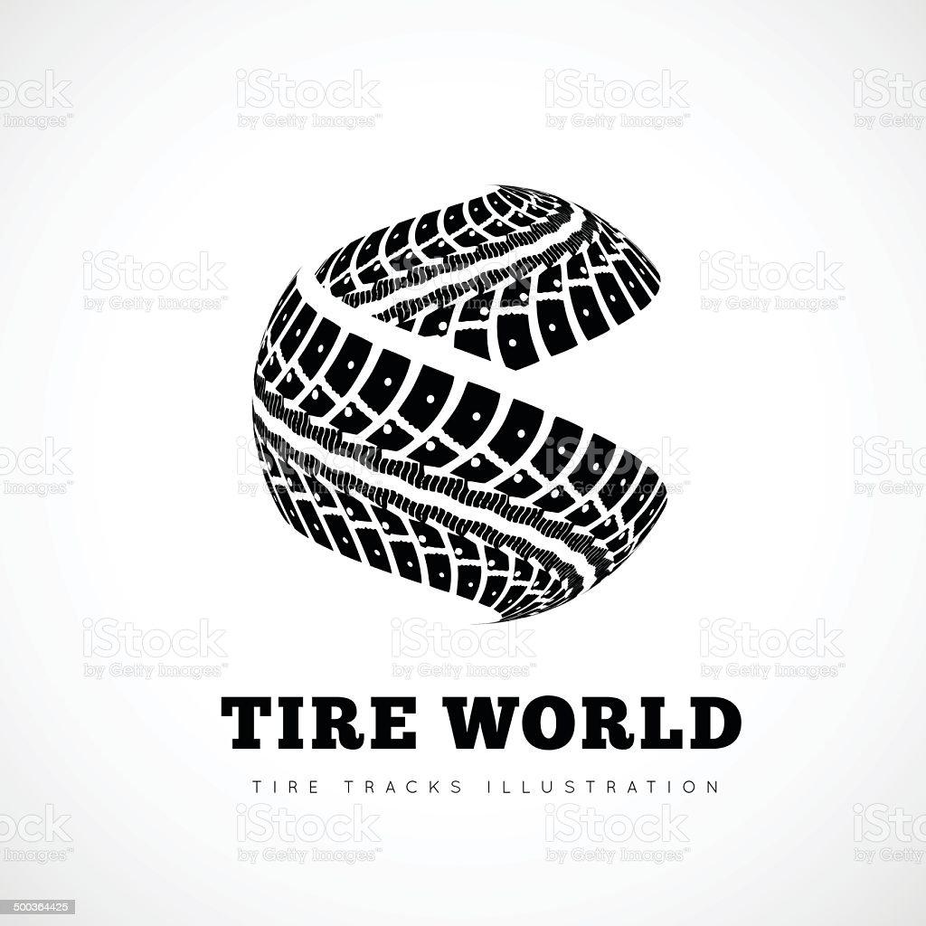 Tire tracks sign vector art illustration
