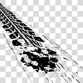 Tire tracks. Vector illustration onon checkered background