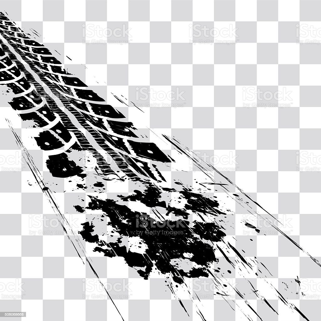 Tire tracks vector art illustration