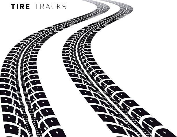 stockillustraties, clipart, cartoons en iconen met tire tracks - bandenspoor