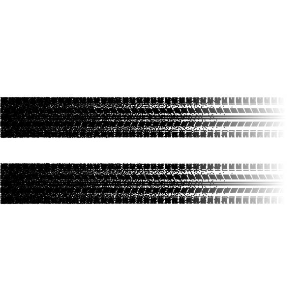 Tire tracks with dots Black tire track silhouette with dots isolated on white tires stock illustrations