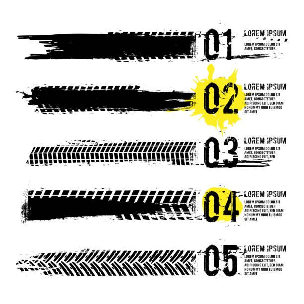 stockillustraties, clipart, cartoons en iconen met tire tread merken infographic - tyre
