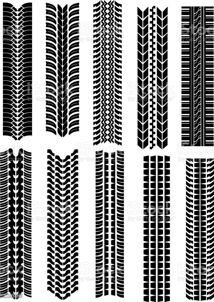 tire tread marks lines in a set of ten stock vector art