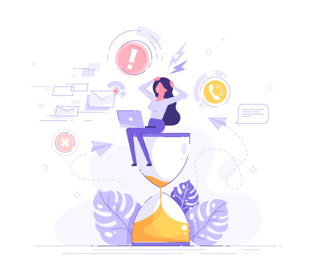 Tired and exasperated business woman is sitting on an hourglass and grabbed his head with business process icons and infographics on background. Stress in the office. Rush work. Deadline. Vector. Tired and exasperated business woman is sitting on an hourglass and grabbed his head with business process icons and infographics on background. Stress in the office. Rush work. Deadline. Vector. overworked stock illustrations