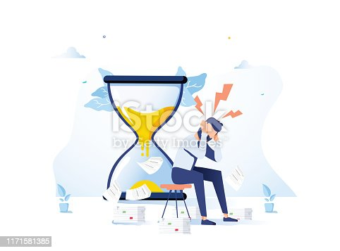 istock Tired and exasperated office worker is sitting near hourglass and grabbed his head with business papers 1171581385