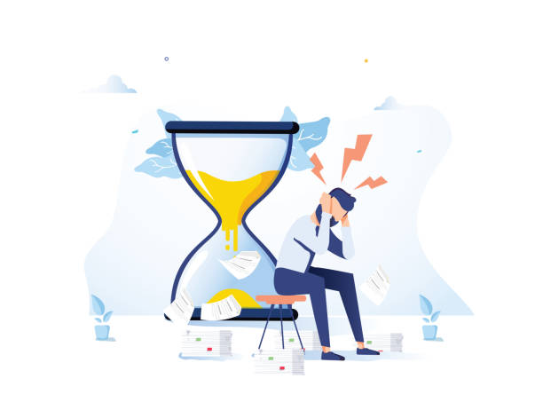 ilustraciones, imágenes clip art, dibujos animados e iconos de stock de cansado y exasperado trabajador de oficina está sentado cerca de reloj de arena y agarró su cabeza con papeles de negocios - estrés