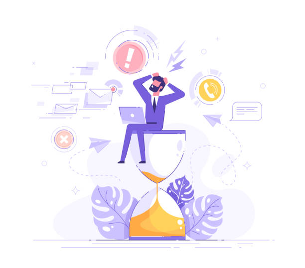 Tired and exasperated office worker is sitting on an hourglass and grabbed his head with business process icons and infographics on background. Stress in the office. Rush work. Deadline. Vector. Tired and exasperated office worker is sitting on an hourglass and grabbed his head with business process icons and infographics on background. Stress in the office. Rush work. Deadline. Vector. frustration stock illustrations