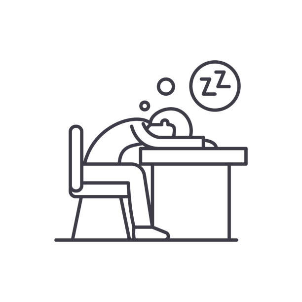 illustrazioni stock, clip art, cartoni animati e icone di tendenza di tired at work line icon concept. tired at work vector linear illustration, symbol, sign - noia