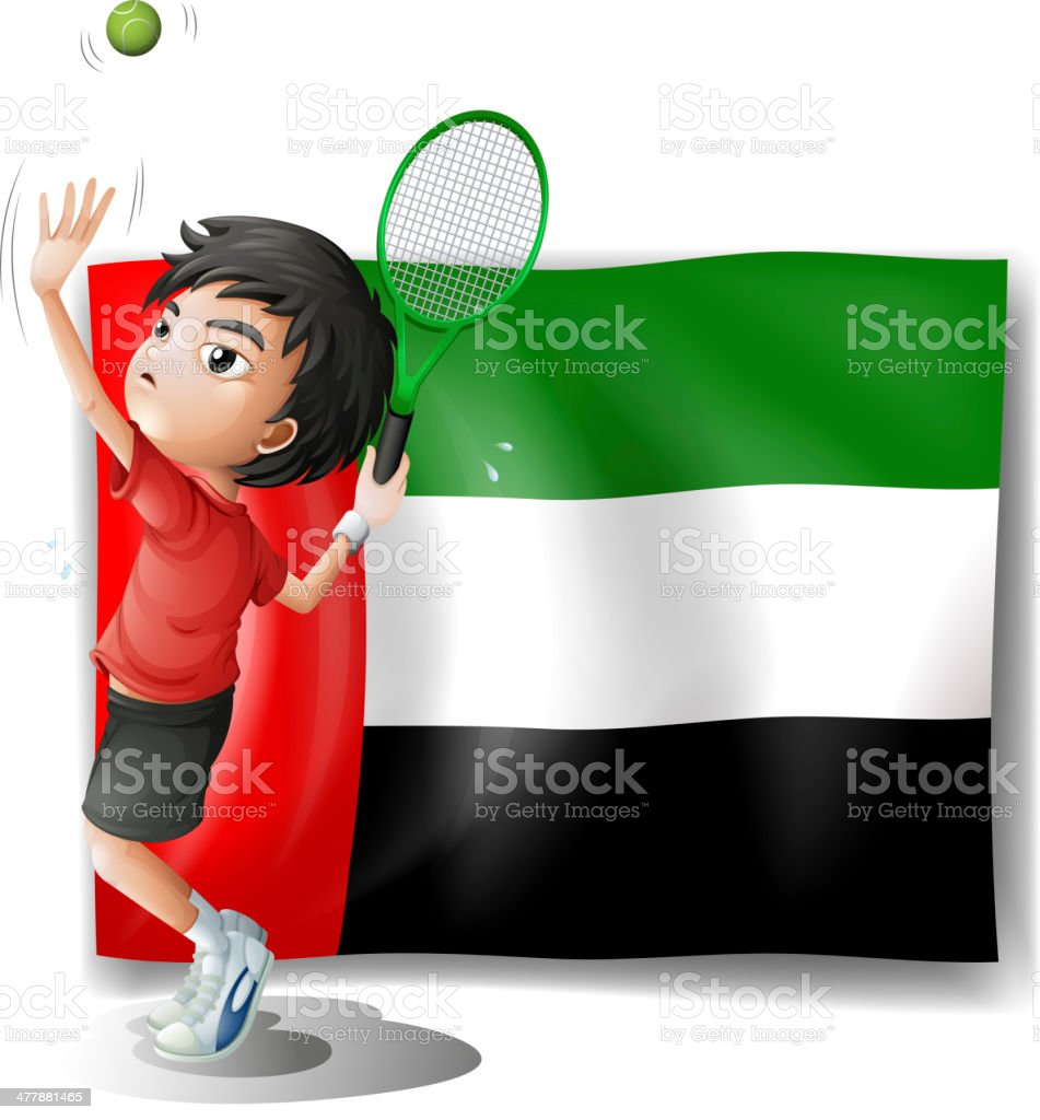 Tired athlete player in front of the UAE flag royalty-free stock vector art