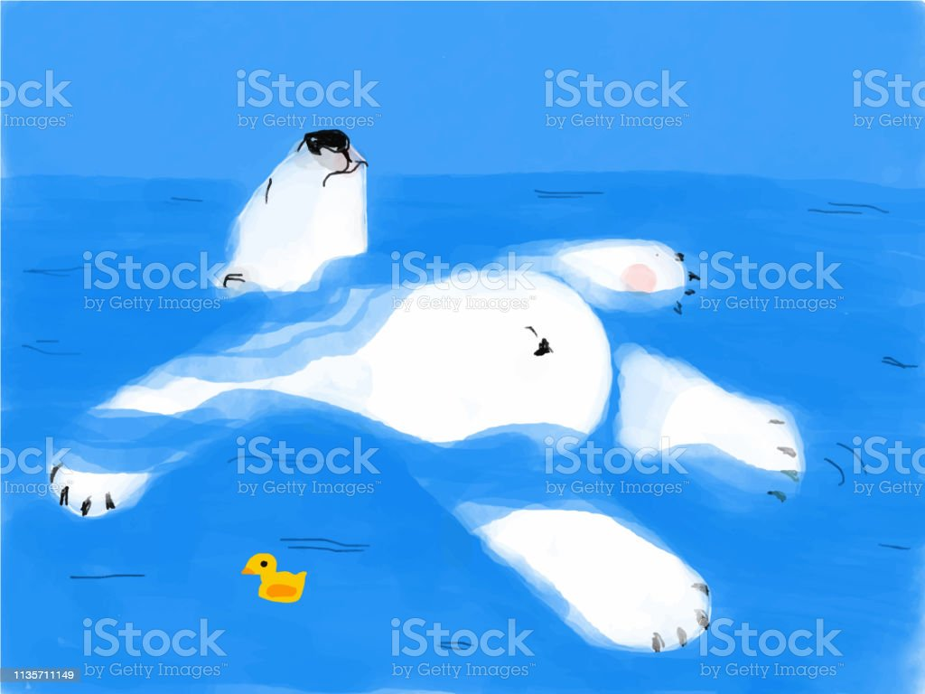 tired bear floats on water with a rubber duck vector art illustration