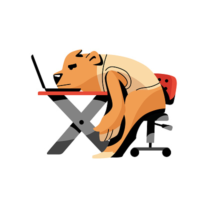 Tired brown bear stay with head on desktop at office work