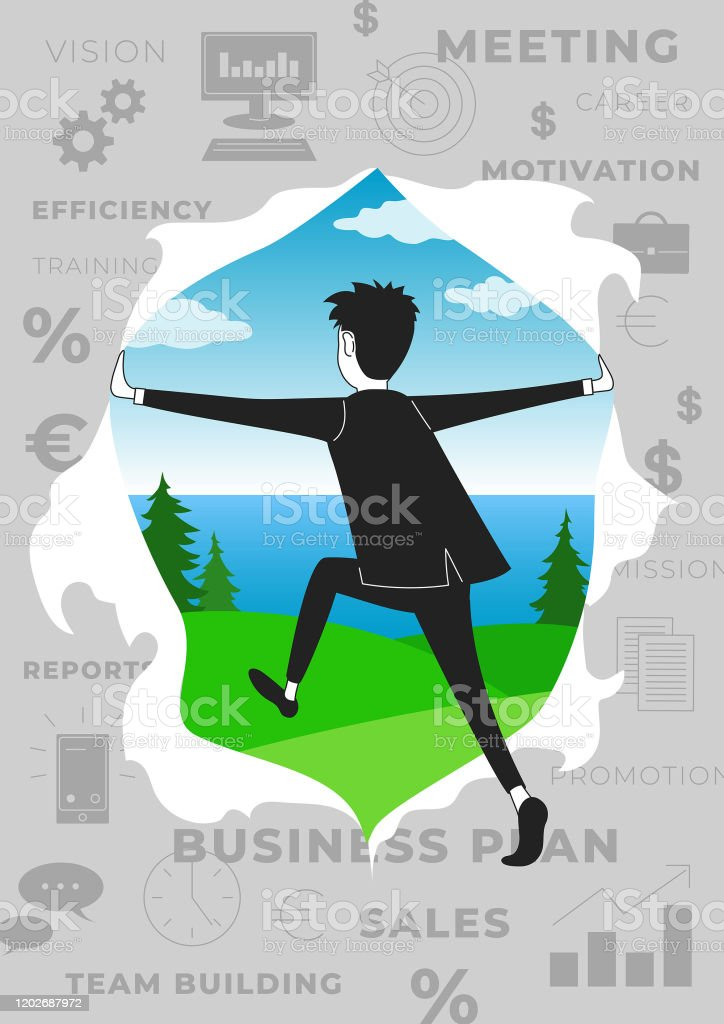 Tired Burnt Out Employee or Businessman Escapes From the Rat Race to Downshifting or Freelance Poster - Royalty-free Adult stock vector