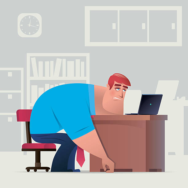 tired business working vector illustration of tired business working with laptop…. boredom stock illustrations