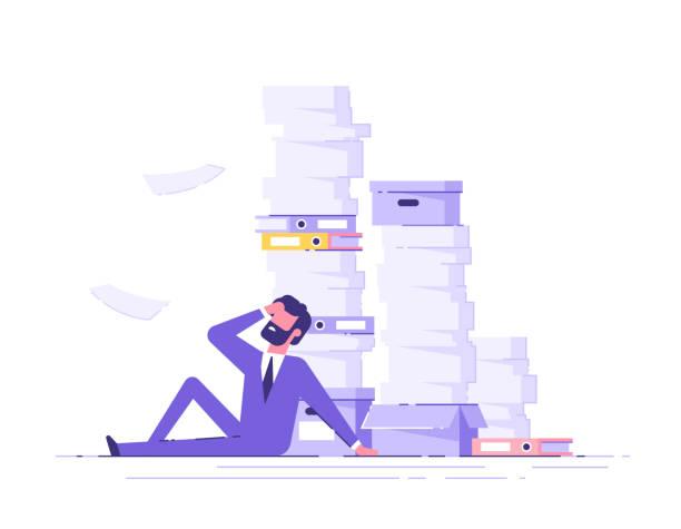 바닥에 앉아 피곤 사업가 주위에 종이 문서의 더미와 그의 머리를 쥐고. 오버 워크 개념입니다. 현대 벡터 일러스트입니다. - 단정한 사무복 stock illustrations