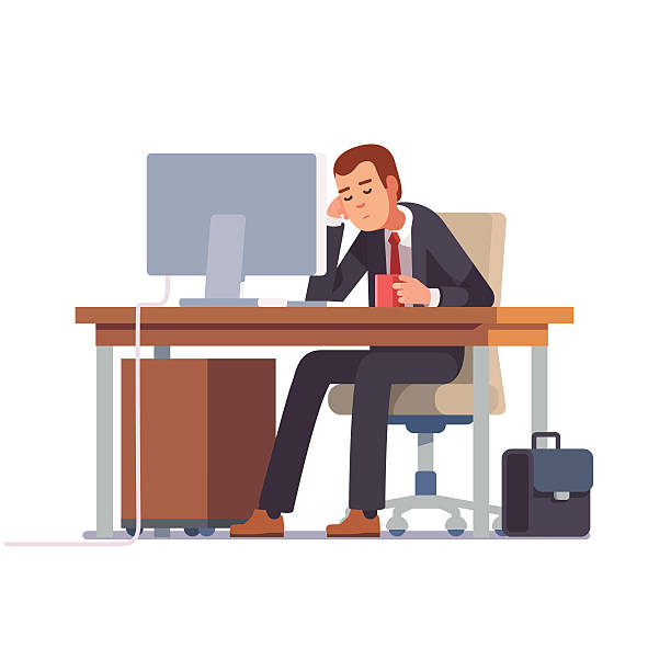illustrazioni stock, clip art, cartoni animati e icone di tendenza di tired businessman sleeping at his office desk - noia