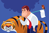 vector illustration of tired businessman with owl and tiger