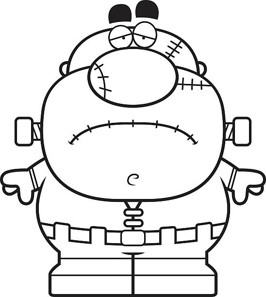 Tired Cartoon Frankenstein Vector Art Illustration