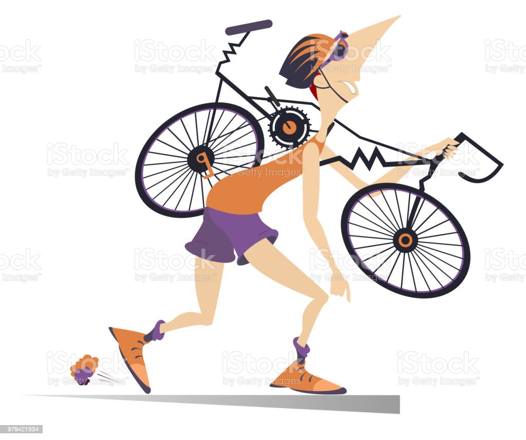 Tired cyclist with a broken bike isolated illustration vector art illustration