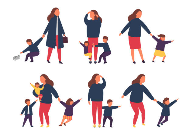 Tired exhausted mother with naughty kids. Parents with children. Vector illustration Tired exhausted mother with naughty kids. Busy parents with children. Vector illustration tired woman stock illustrations