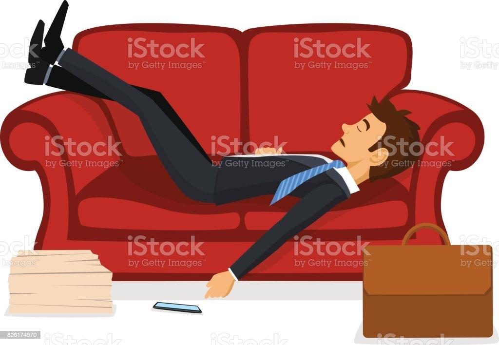 Cansado exausto Office empregado dormindo no sofá depois do trabalho  ilustração de cansado exausto office empregado 4c60b93e74