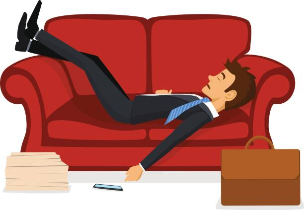 illustrazioni stock, clip art, cartoni animati e icone di tendenza di tired exhausted office employee sleeping on sofa after work - divano procrastinazione