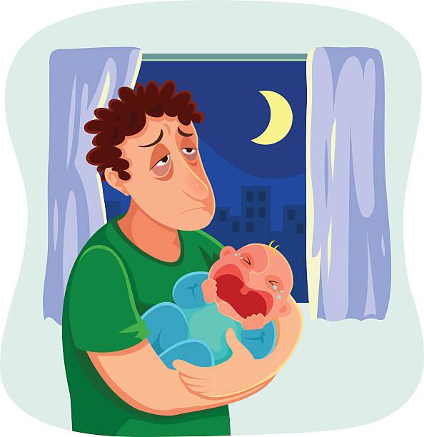 ilustrações, clipart, desenhos animados e ícones de cansado pai - novo bebê