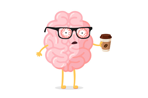 Tired fatigue bad emotion cute cartoon human brain character with hot coffee cup. Central nervous system organ wake up bad monday morning funny concept. Vector illustration